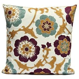 Uniifurn Purple & Teal Blue Flower Embroidered Throw Pillow