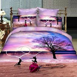 Alicemall Queen Size Purple Bedding Romantic Heart Shape Wit