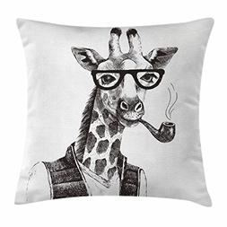 Quirky Decor Throw Pillow Cushion Cover by Ambesonne, Giraff