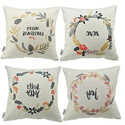 Thanksliving 4 Pcs Quotes Decorative Pillowcase Cushion Cove