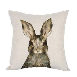 Moslion Rabbits Watercolor Cotton Linen Square Decorative Th