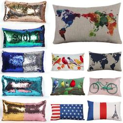 Rectangle Soft Map Sequin Home Car Decoration Novelty Pillow