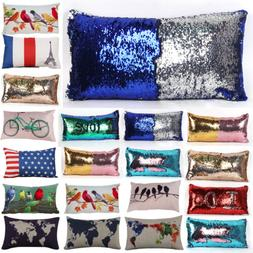 Rectangular Cushion Cover Sequin Throw Waist Pillow Case Sof