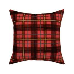 Red And Black Tartan Pattern Throw Pillow Cover w Optional I