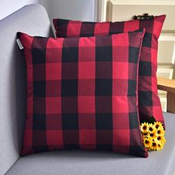 Natus Weaver Red & Black Buffalo Check Plaid Throw Pillow Co