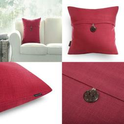 Phantoscope Red Button Linen Decorative Throw Pillow Case Cu