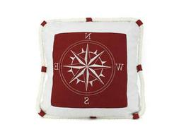 """Red Compass With Nautical Rope Decorative Throw Pillow 16""""-"""