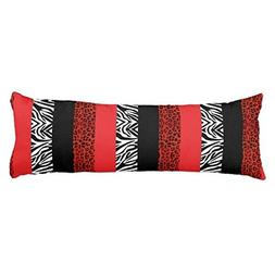 Red Leopard and Zebra Custom Animal Print Body Pillow Cover