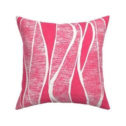 red pink retro abstract organic throw pillow