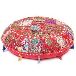 Red Round Patchwork Floor Cushion Seating Meditation Pillow