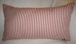 Red Ticking Stripe Throw Pillow Cover  Farmhouse Country Chi