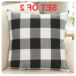 Burlap Farmhouse Decor Buffalo Checkers Plaid Cotton Linen D