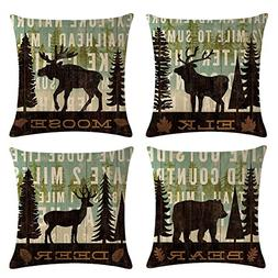 Decroitem Retro Vintage Background Wildlife Elk Moose Bear D