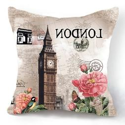 OJIA Retro Vintage London Big Ben Flower 18 X 18 Inch Cotton