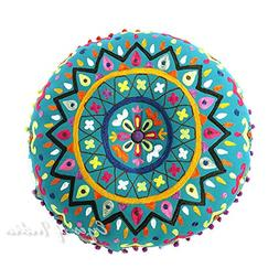 """EYES OF INDIA - 24"""" Teal Blue Green Round Decorative Floor C"""