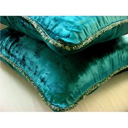 Royal Peacock Green Throw Pillows Cover, Solid Color Bead Co