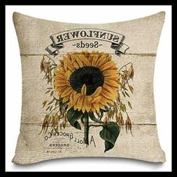 Rustic Farmhouse Sunflower Throw Pillow Covers Vintage Wo 18