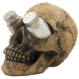 Scary Evil Human Skull Salt and Pepper Shaker Set Figurine D