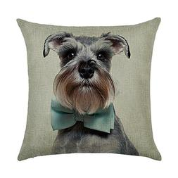 DECORLUTION Schnauzer with Bow Tie Pattern 18x18 Inch Cotton