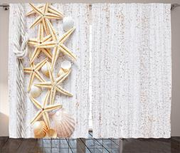 Ambesonne Seashells Decor Curtains By, Seashells And Starfis