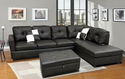 Sectional Sofa, L-Shape Faux Leather Sectional Couch set for