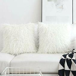 HOME BRILLIANT Set Of 2 Decorative Faux Fur Euro Sham Large