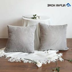 Set of 2 Soft Striped Corduroy Cushion Covers Throw Pillow C