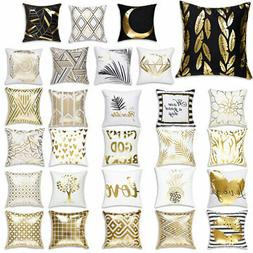 Square Throw Pillow Case Gold Stamping Sofa Car Waist Cushio