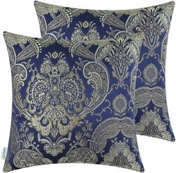Set of 2 Navy Blue Floral Throw Pillow Covers