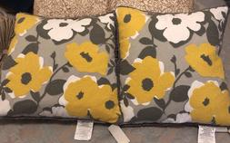Set of 2 Yellow and Gray Duck Feather Decorator Pillows 20x2