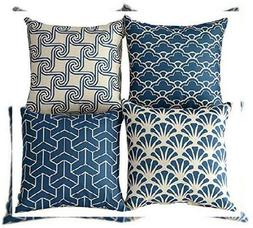 WOMHOPE Set of 4 Colorful Geometric Throw Pillow Blue Triang
