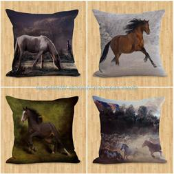 set of 4 couch throw pillow case horse pillow cushion covers