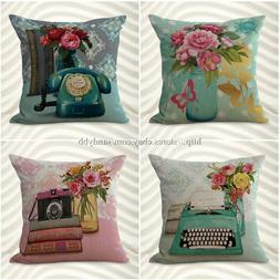set of 4 cushion covers European  floral throw pillows for w