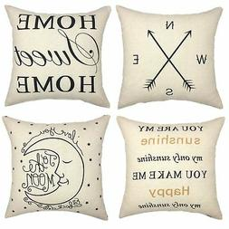 YOUR SMILE Set of 4 Decorative Throw Pillow Cover Cushion Ca
