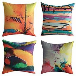 WOMHOPE Set of 4 European Classic Throw Pillow Covers )