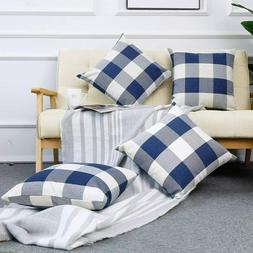 Set of 4 Farmhouse Buffalo Checkers Plaid Cotton Throw Pillo