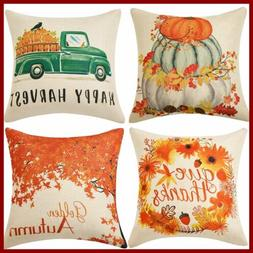 Set Of 4 Pillow Covers Fall Cotton Linen Throw Maple Leaf Au