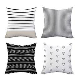 set of 4 pillow covers stripe pattern