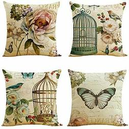 WOMHOPE Set of 4 Throw Pillow Covers Bird On The )