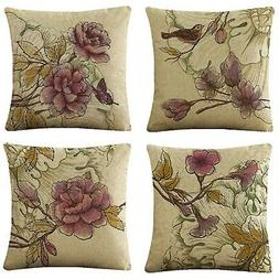 WOMHOPE Set of 4 Vintage Flower Decorative Throw Pillow Cove