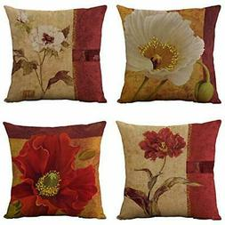 WOMHOPE Set of 4 Vintage Flower Throw Pillow Covers )