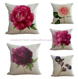 Set of 5 peony floral vintage cushion covers decorative pill