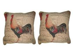 DaDa Bedding Set of Two Glamorous Rooster Throw Pillow Cover