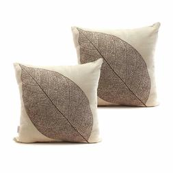 Luxbon Set of 2Pcs Rustic Farmhouse Leaves Decor Cotton Line