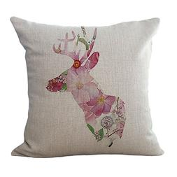 ChezMax Sika Deer Pattern Cushion Cover Cotton Linen Pillows