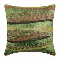 Silk 16x16 inch Designer Throw Pillowcase Green, Sequins - E