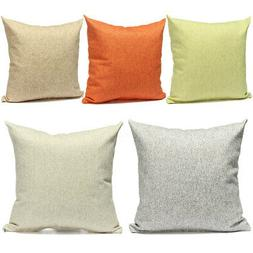Simple Cotton Linen Throw Waist Pillow Case Sofa Car Cushion
