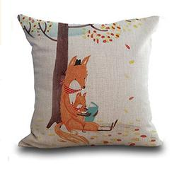 Sitting Fox Under the Tree Throw Pillow Cushion Cover Cotton
