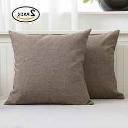 Home Brilliant Slub Linen Cushion Covers Throw Pillows Cases
