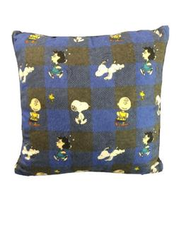 Snoopy, Charlie Brown, Lucy Plaid Decorative Throw Pillow- 1